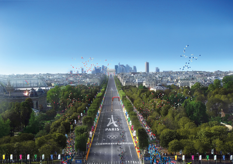 JO : Un exemple de grand site temporaire iconique : les Champs-Elysées © Paris2024 - Luxigon