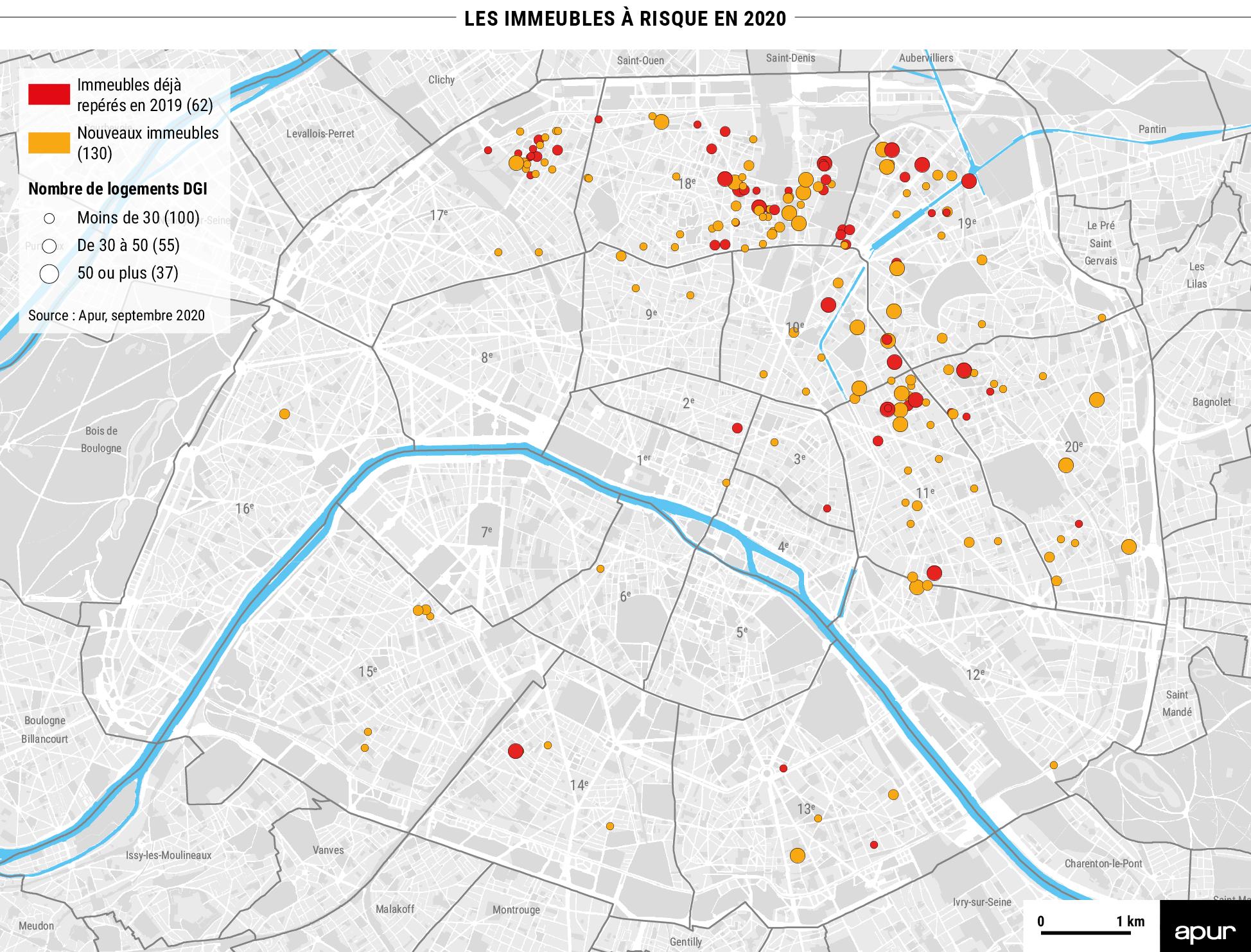 Les immeubles à risque en 2020 à Paris © Apur