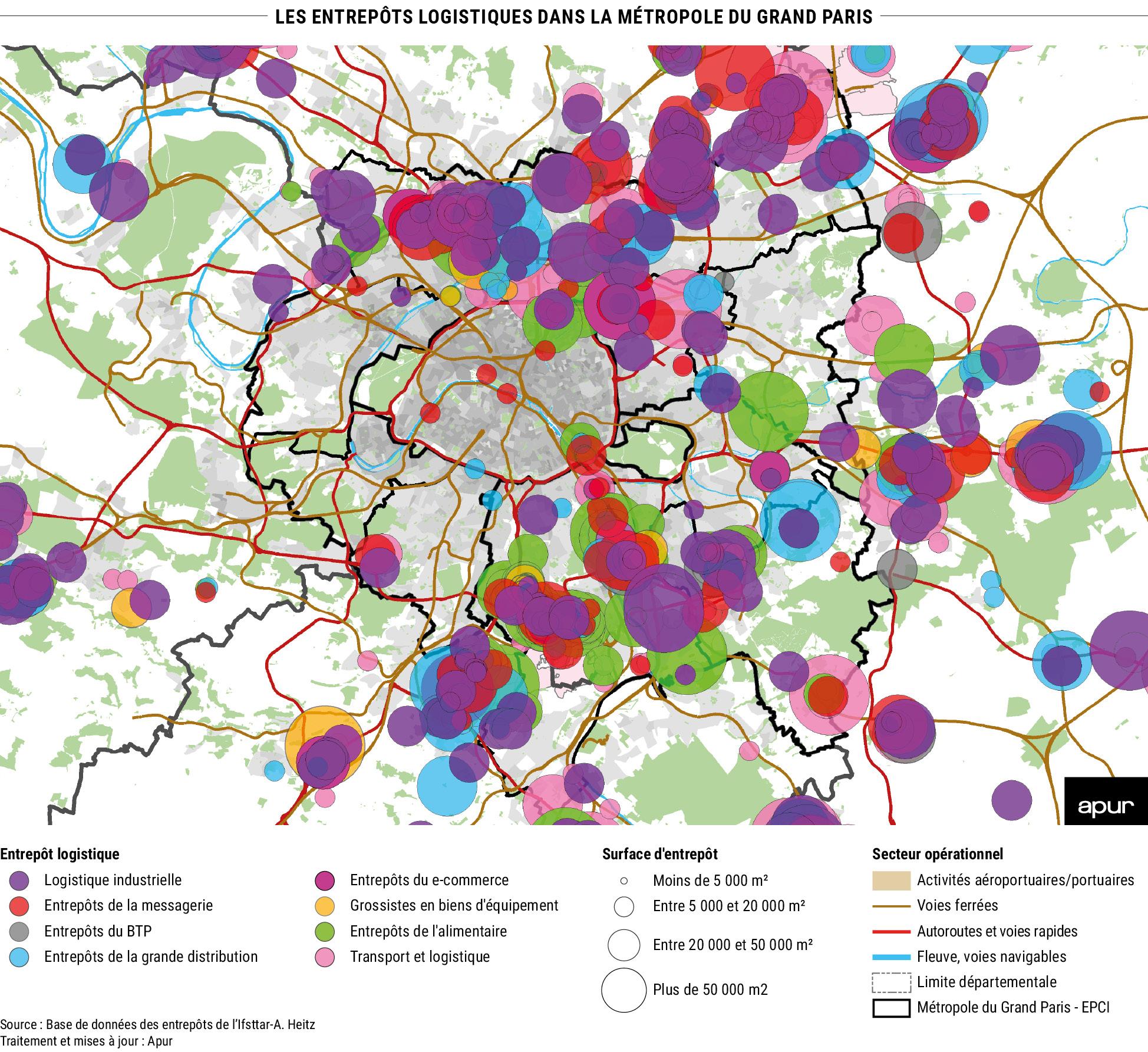 10- Les entrepôts logistiques dans la métropole du Grand Paris © Apur