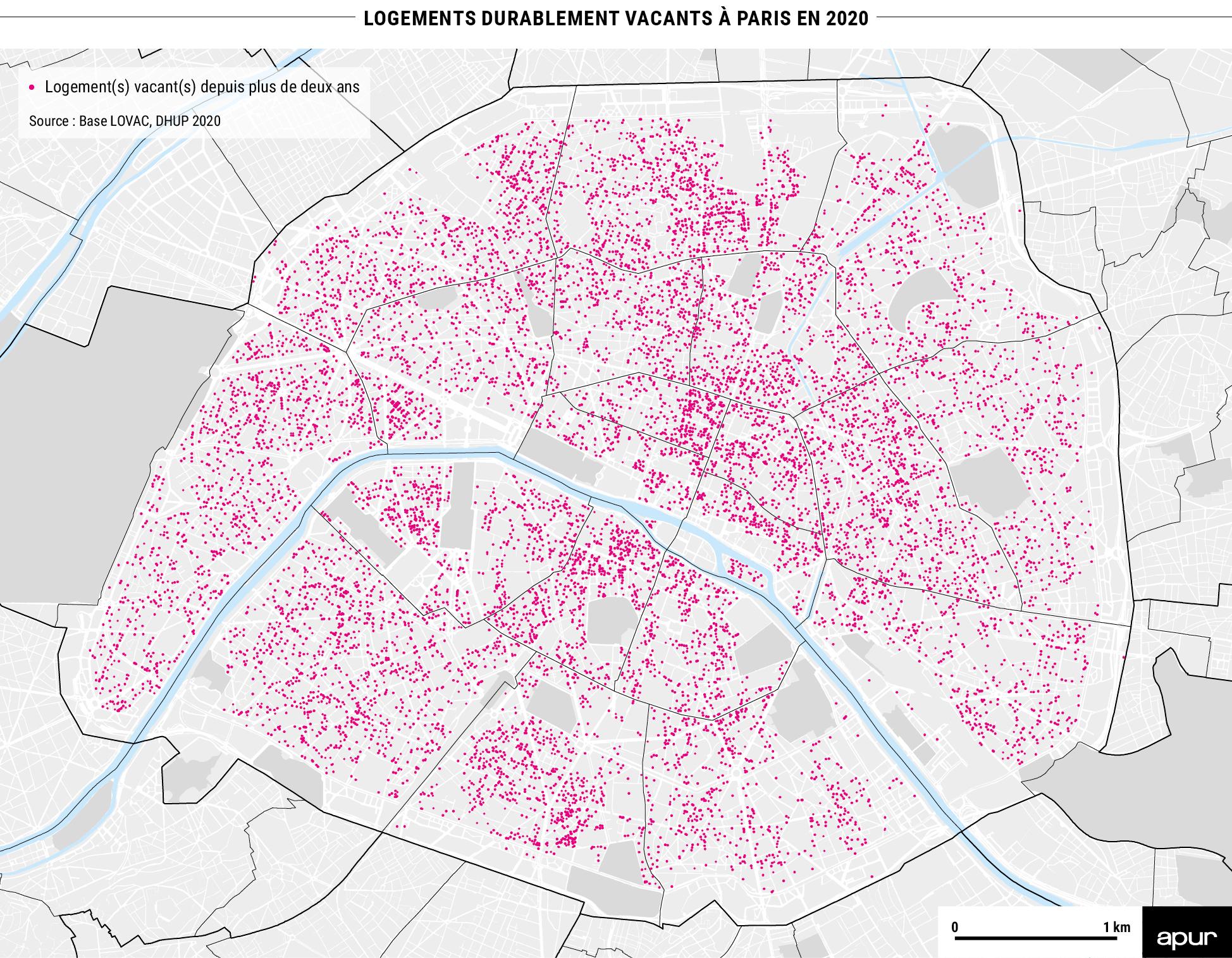 Nombre de logements durablement vacants par arrondissement à Paris © Apur