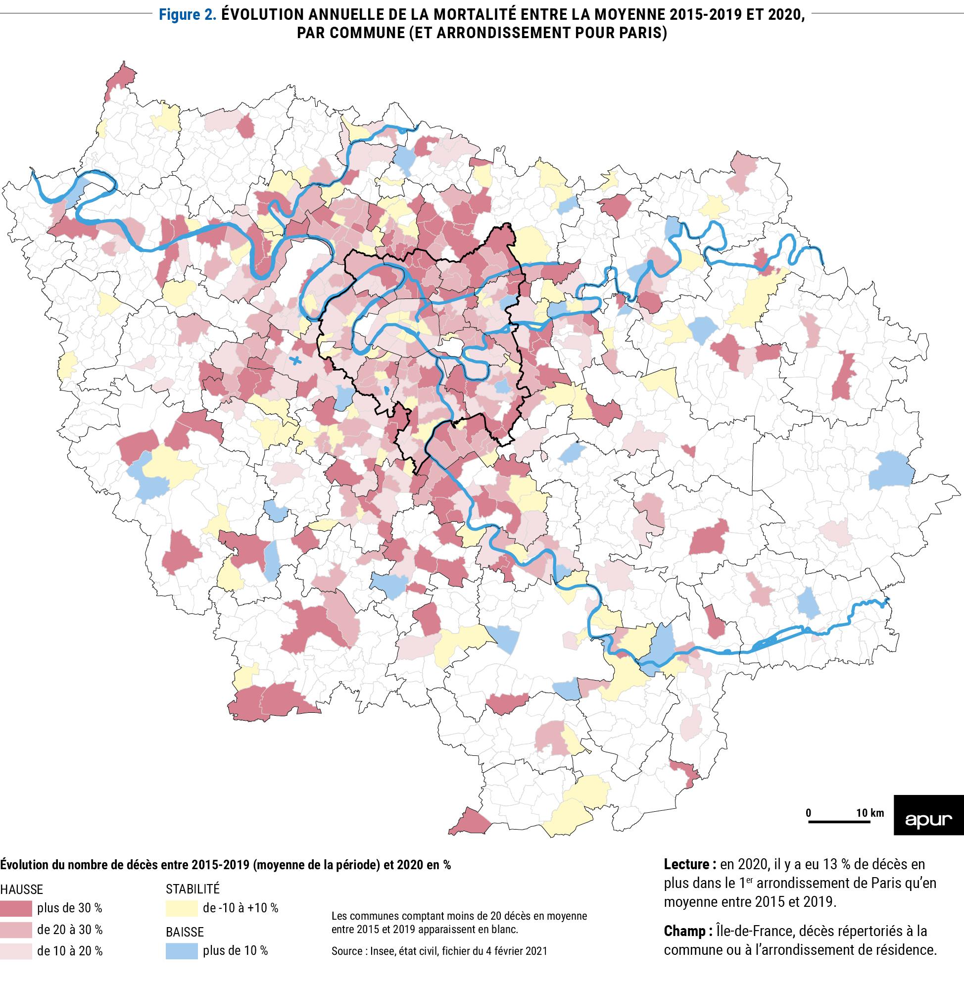Figure 2 : évolution annuelle de la mortalité entre la moyenne 2015-2019 et 2020, par commune (et arrondissement pour Paris) © Apur
