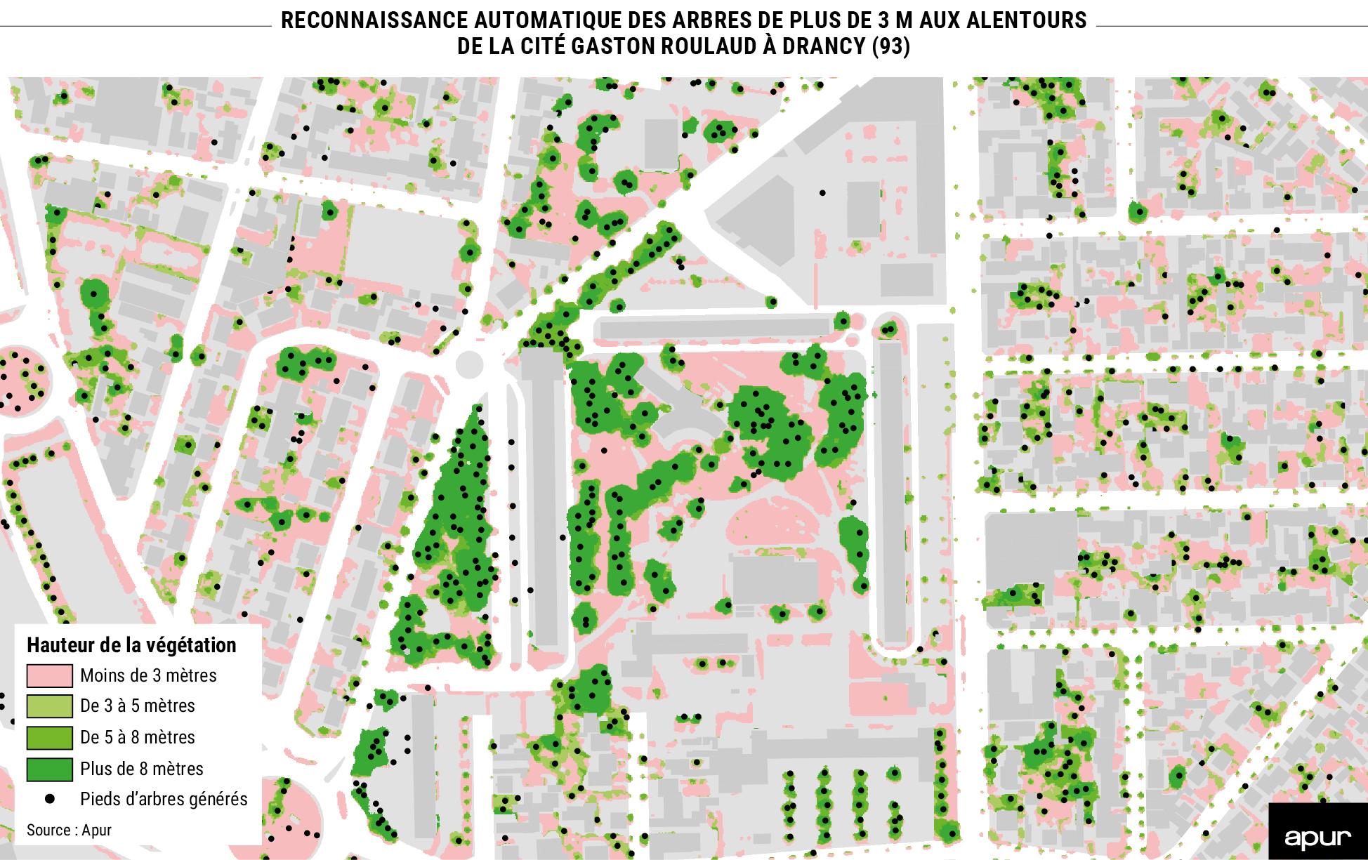 Reconnaissance automatique des arbres de plus de 3 m aux alentours de la cité Gaston Roulaud à Drancy (93) © Apur