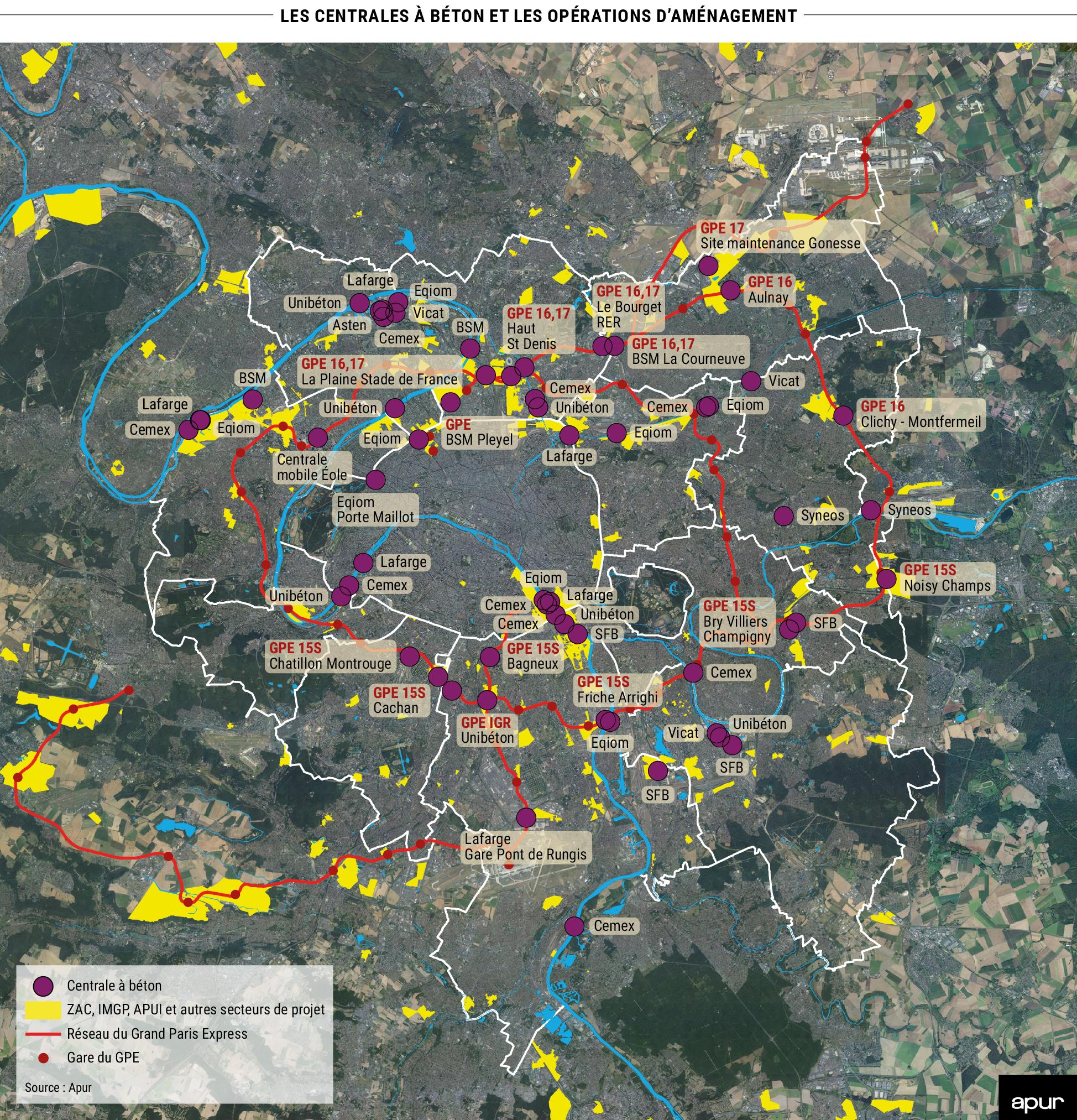 les centrales à béton et les opérations d'aménagement © Apur