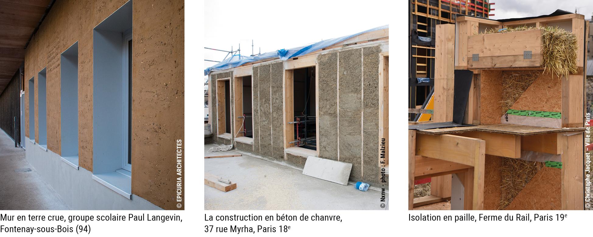 montage de 3 photos de matériaux de construction © voir sur les photos