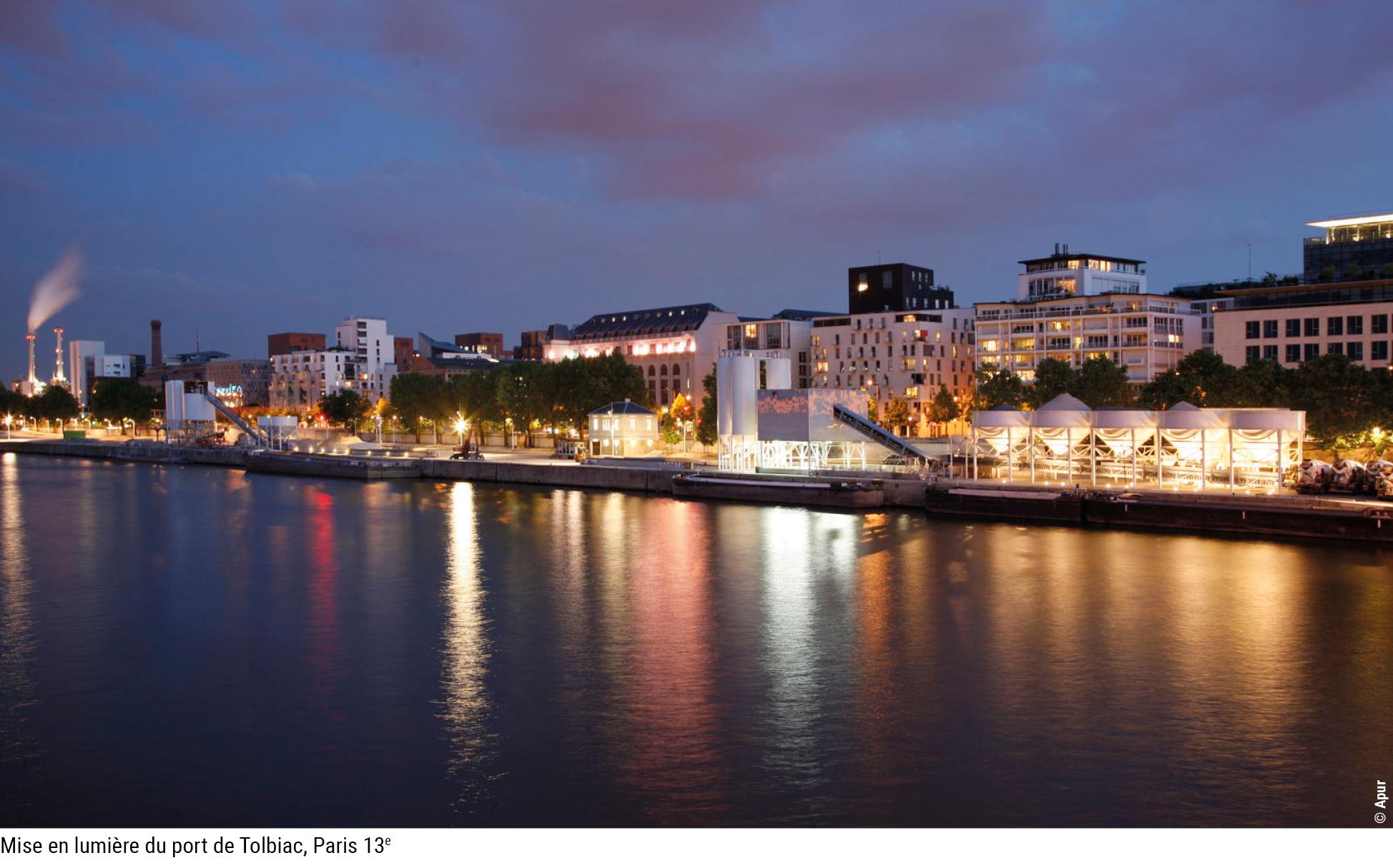 Mise en lumière du port de Tolbiac, Paris 13e © Apur