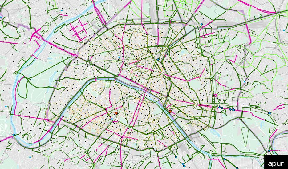 Aménagements cyclables existants et en projet à Paris - mars 2021 © Apur