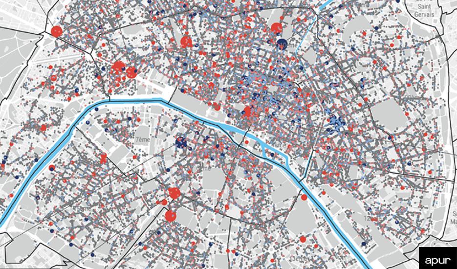 Évolution des commerces et services à Paris entre 2017 et 2020 © Apur