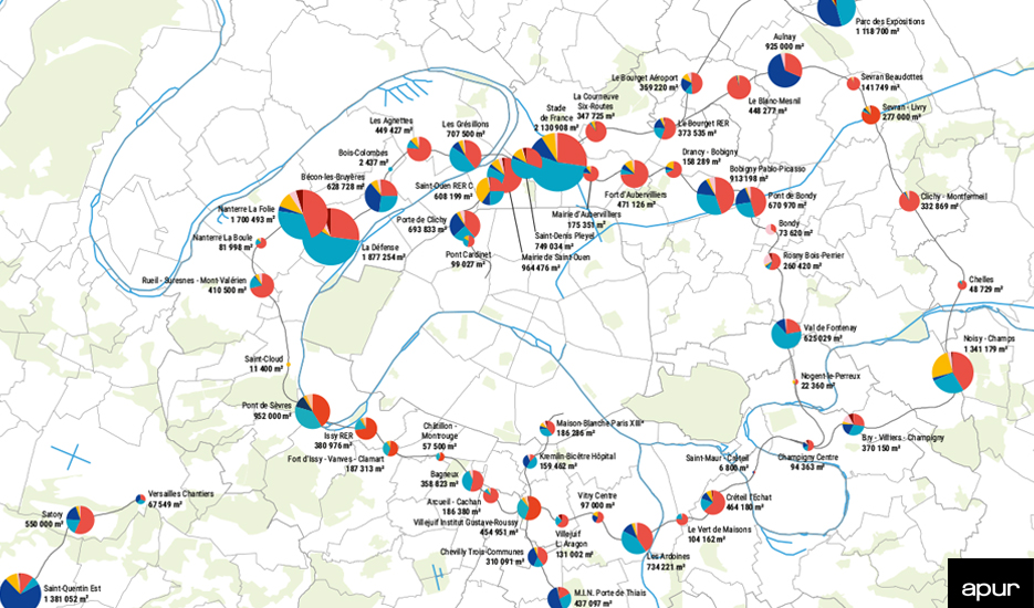 Programmation des projets d'aménagement dans les 68 quartiers de gare du Grand Paris Express © Apur