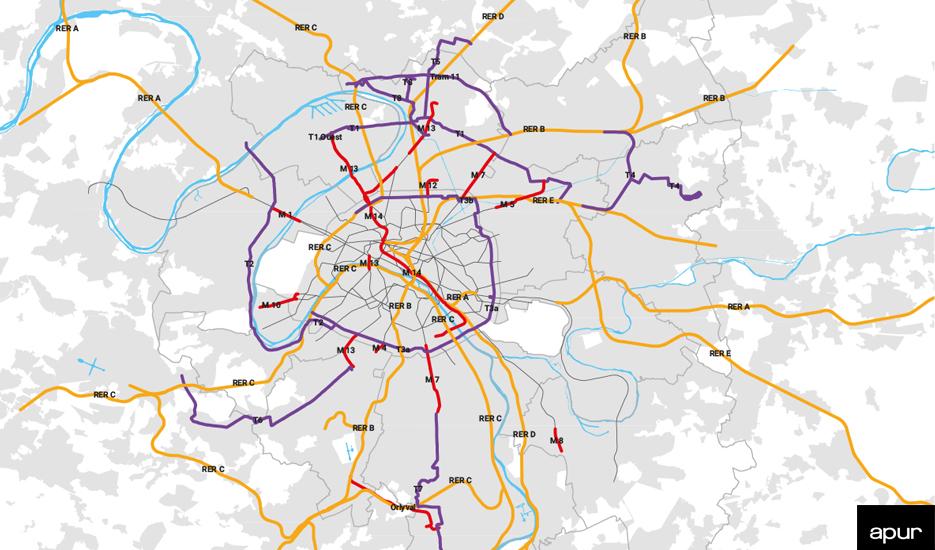 Lignes de transports en commun lourds mises en service entre 1976 et 2020 en IDF © Apur