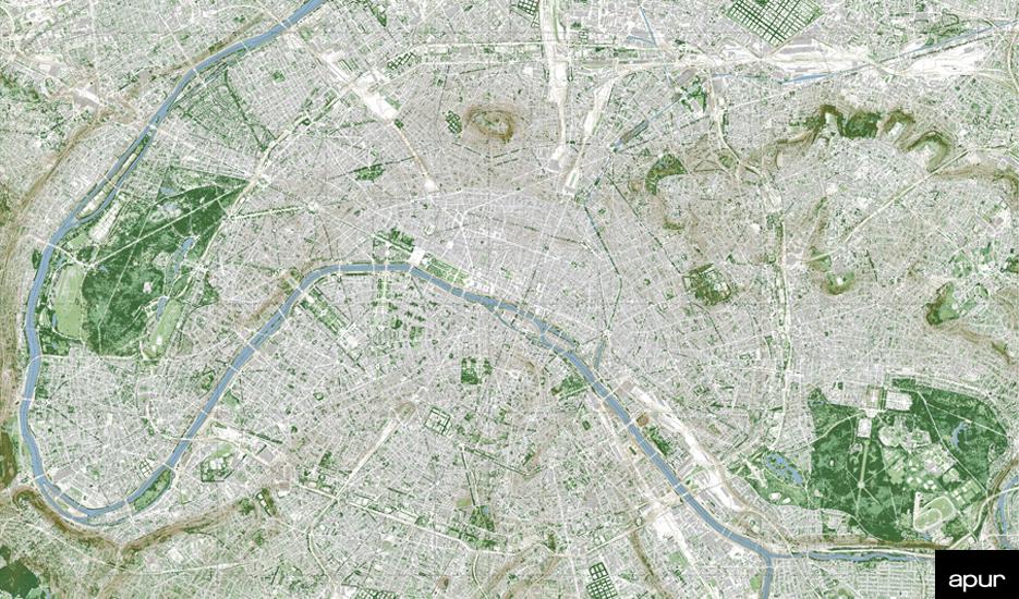 Paris végétale © Apur - image proche infrarouge, MNE, MNT - Aérodata 2015