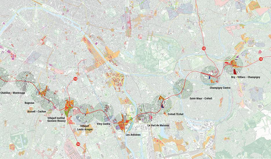 Les projets d'aménagement et de transport dans les 16 quartiers de gare de la ligne 15 sud du Grand Paris Express © Apur