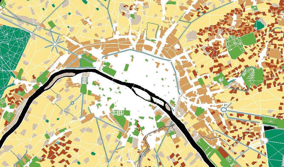 """Extrait de la carte interactive """"3 siècles d'évolution de la nature à Paris, de 1730 à 2017"""" © Apur"""