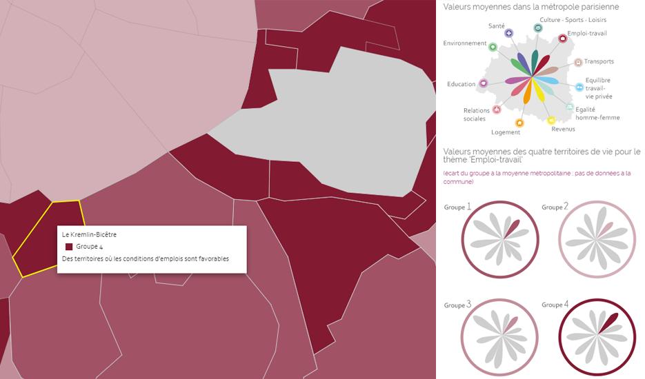 Datavisualisation : la qualité de vie dans la métropole du Grand Paris © Apur