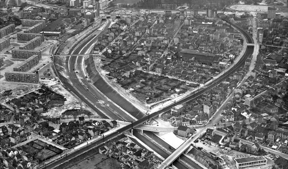 La construction de l'A6a en 1960 © Archives des Ponts et Chaussées – Robert Durandaud
