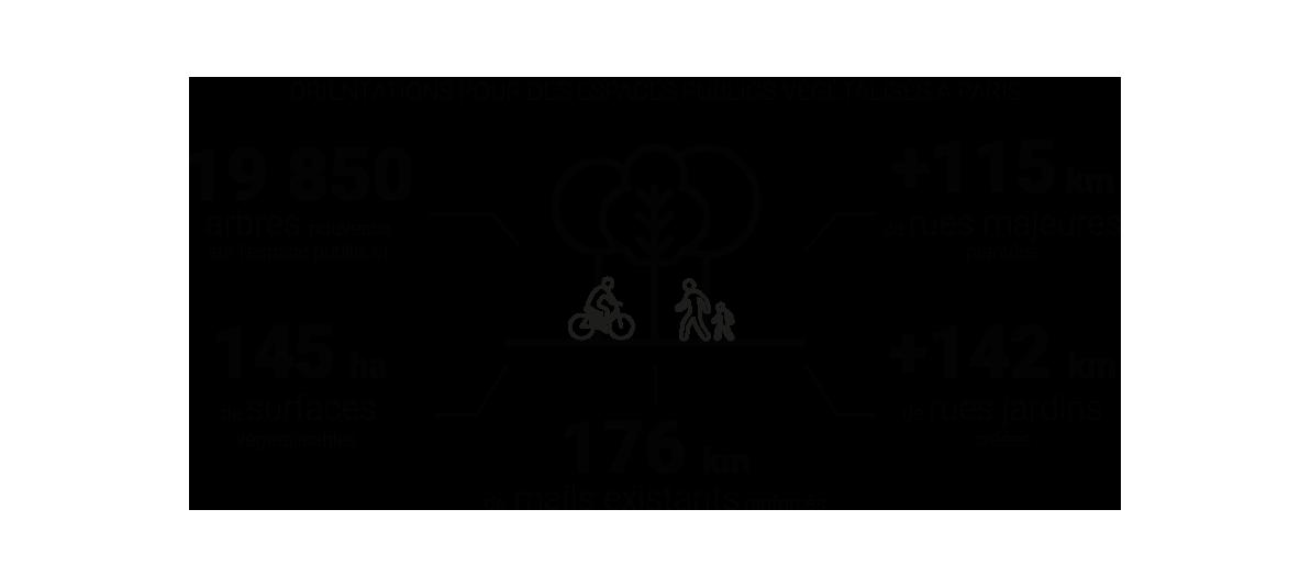 Infographie - Orientations pour des espaces publics végétalisés à Paris © Apur