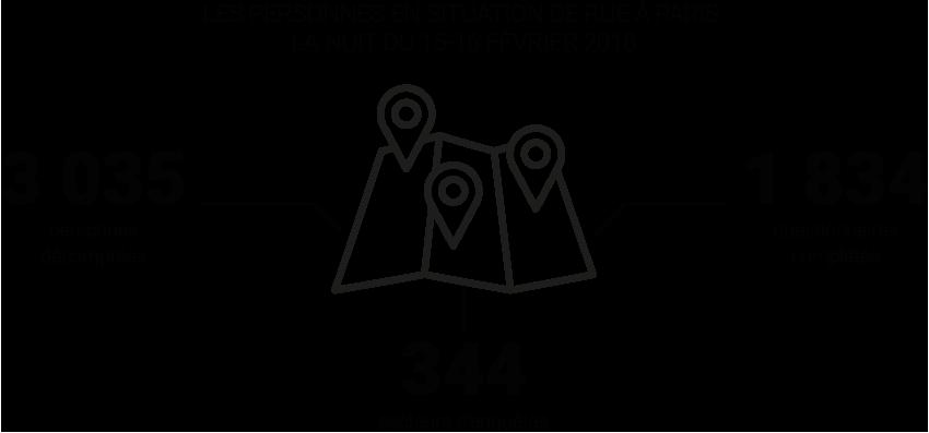 Infographie - Les personnes en situation de rue à Paris, la nuit du 15-16 février 2018 © Apur