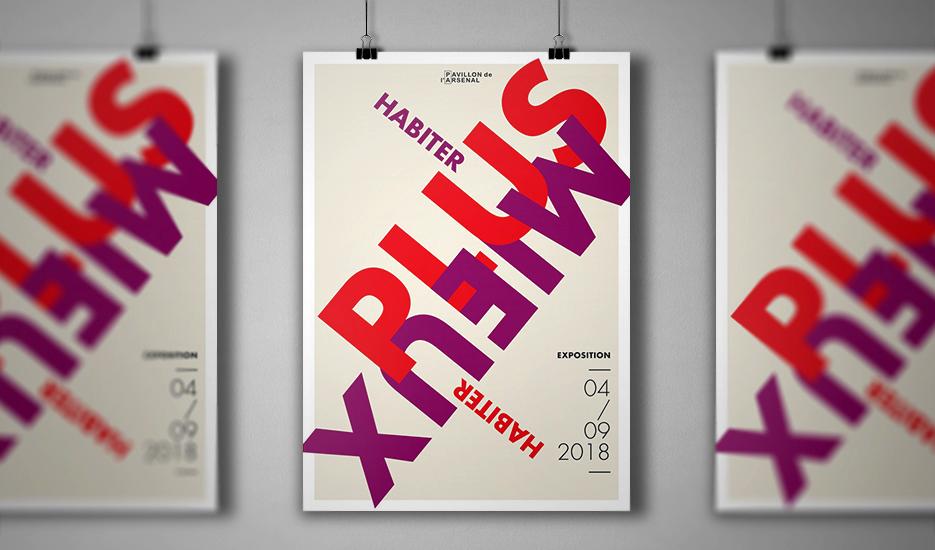 """Affiche de l'exposition """"Habiter plus, habiter mieux"""" au Pavillon de l'Arsenal © Pavillon de l'Arsenal - Sylvain Enguehard"""