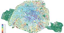 Carte de datation des bâtiments parisiens