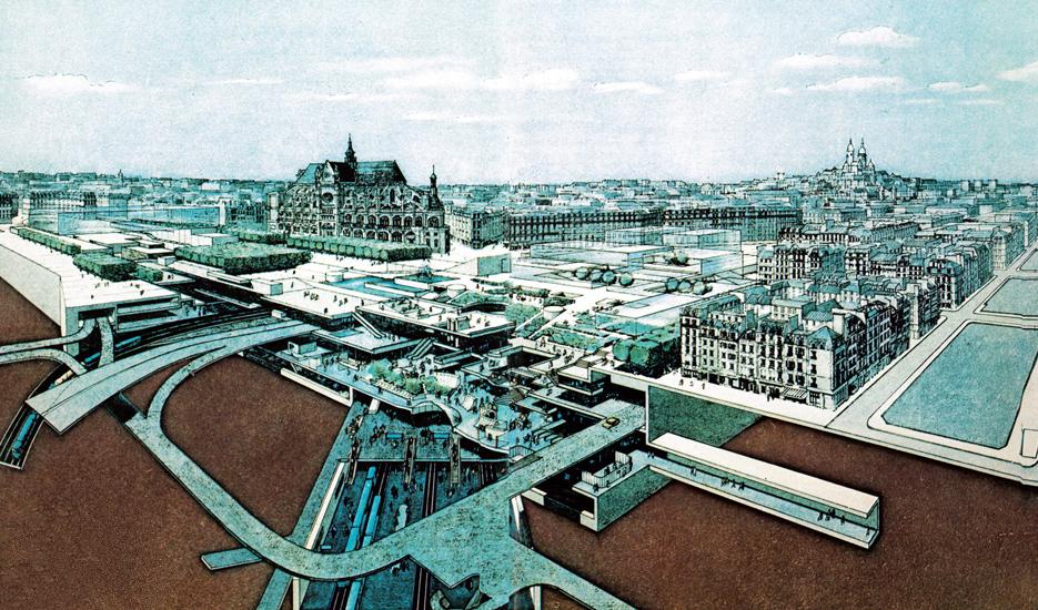 Coupe perspective sur le projet des Halles © Doc. Apur / Semah - Ville de Paris