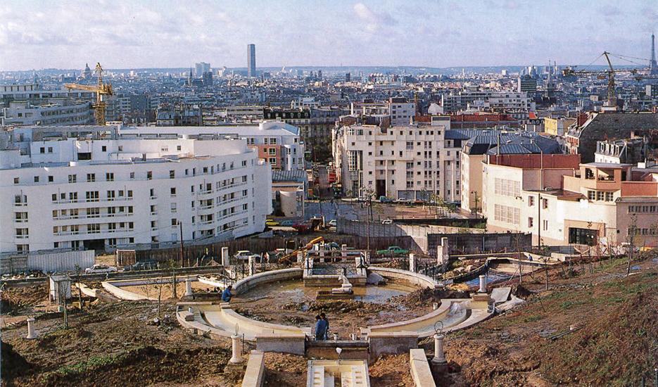 Le parc de Belleville en chantier en 1987 © Apur