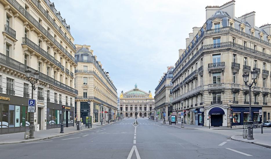 Avenue de l'Opéra durant le confinement © Apur - F.Mohrt