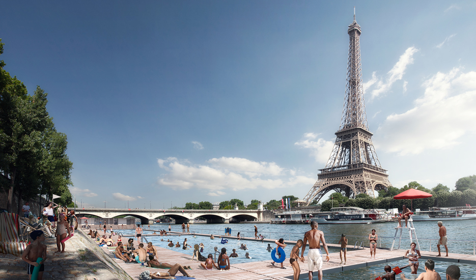 View of future bathing site at the Trocadéro  @ Apur-Luxigon