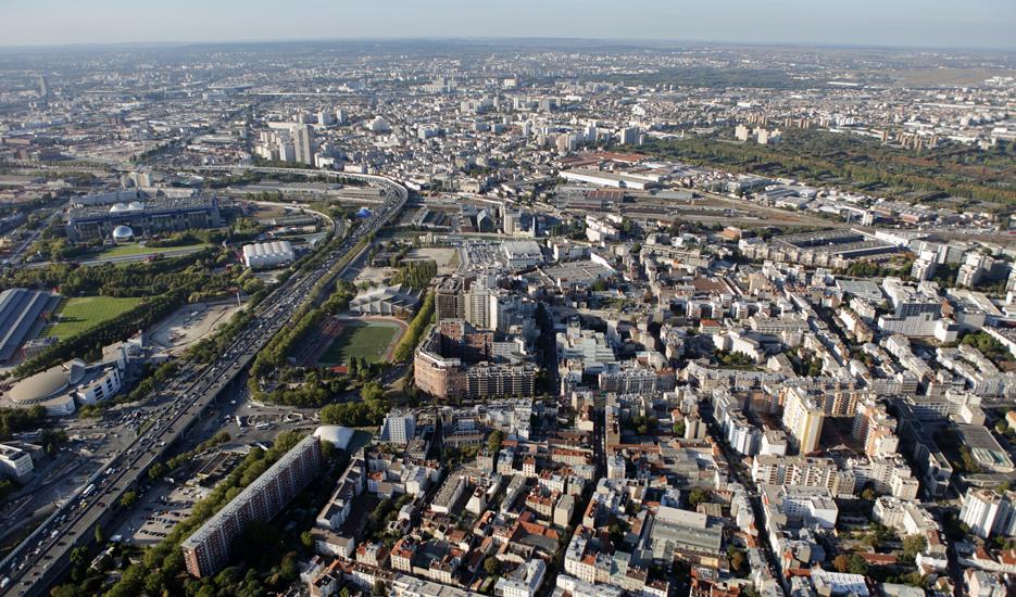 Vue sur le territoire de faubourg d'Est Ensemble © Ph.Guignard@air-images.net