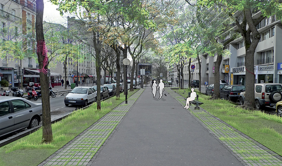 Rows of roadside trees, grassed beneath and bordered by pavements, existing and proposed state - Paris 11th/20th districts © Photomontage Apur