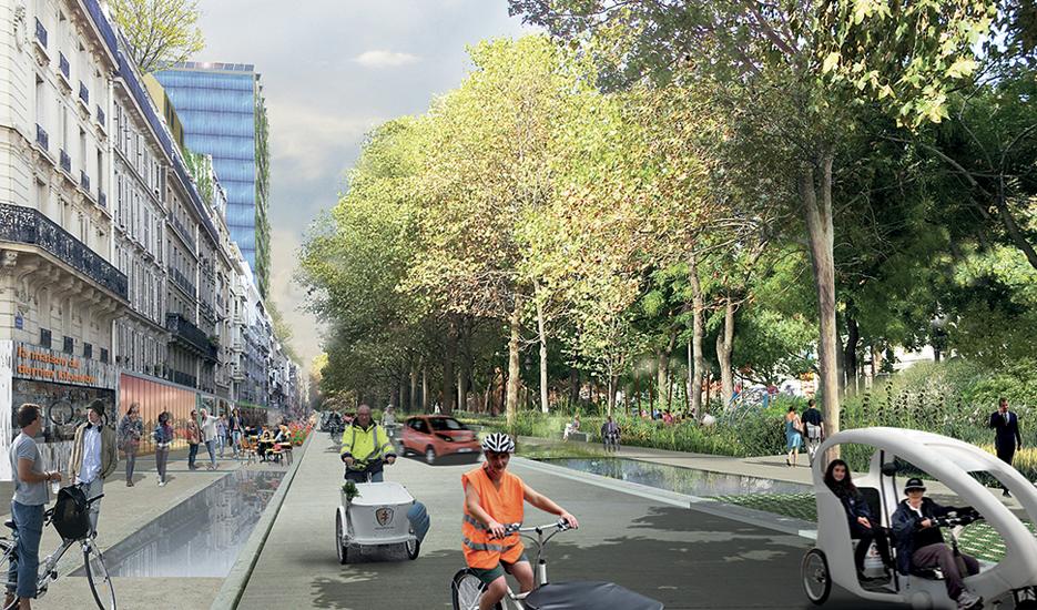 Boulevard Jules Ferry (11e arrondissement), projection en 2050: l'immeuble de grande hauteur est devenu  un immeuble ressource producteur d'énergie. Les eaux de pluie circulent dans un bassin. Les jardins se sont étendus et accueillent de l'agriculture urbaine. © Céline Orsingher