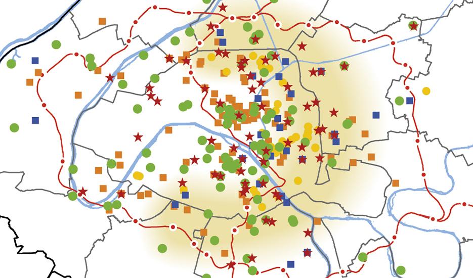 extrait de la carte sur les lieux d'appui à l'innovation et à l'entrepreneuriat à Paris et dans la métropole du Grand Paris© Apur