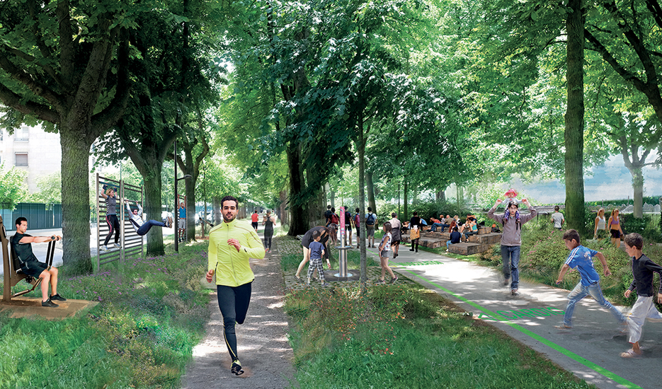Illustration of the trail's development on the edge of woods, gardens and planted walkways. Example of the Bois de Boulogne woods, Allée des Fortifications © 2018 – ATELIER DES MILLE – Apur
