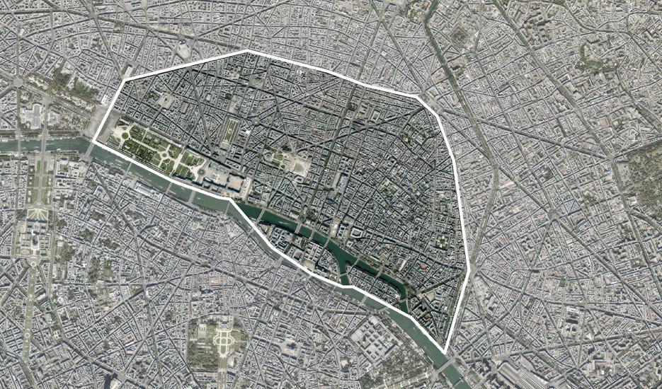 Vue aérienne sur les quatre premiers arrondissements de Paris © MNE/MNT/Photo/proche infrarouge Aerodata