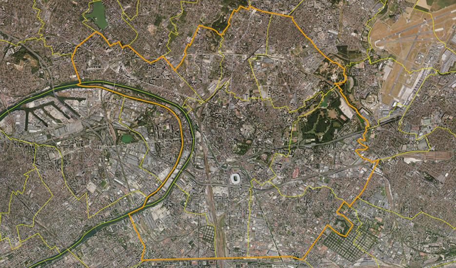 Vue satellite sur le territoire de Plaine Commune © MNE/MNT/Photo/proche infrarouge - Aerodata