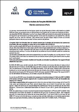 Couverture - Les commerces parisiens, premiers résultats du recensement d'octobre 2020 © Apur
