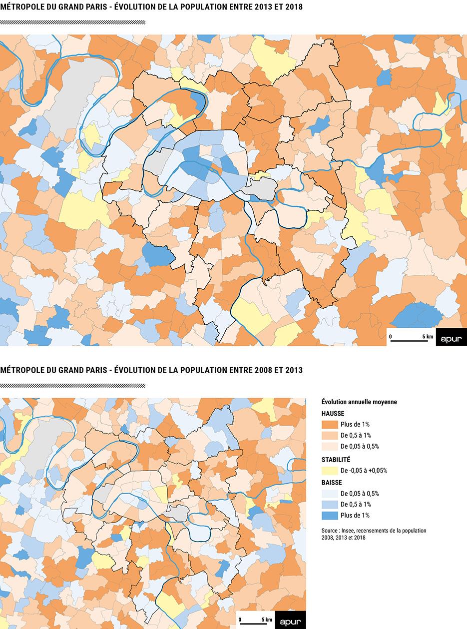 évolution de la population entre 2013 et 2018