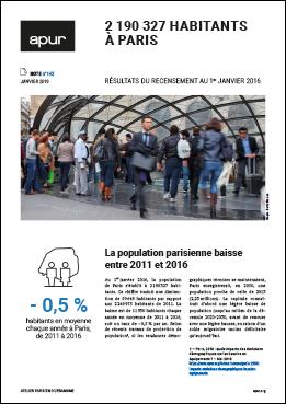 Couverture - 2 190 327 habitants à Paris - Résultats du recensement au 1er janvier 2016 © Apur