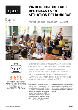 Couverture note 129 - L'inclusion scolaire des enfants en situation de handicap - Profils et évolutions récentes à paris © Apur