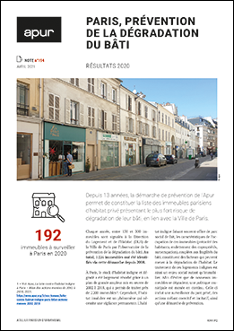 Couverture - Paris, prévention de la dégradation du bâti - Résultats 2020 © Apur