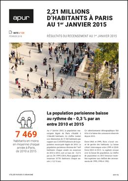 Couverture note 120 - 2,21 millions d'habitants à paris au 1er janvier 2015 © Apur