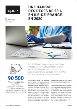 Couverture – Une hausse des décès de 20% en Ile-de-France en 2020 © Apur