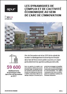 """Couverture de la note """"Les dynamiques de l'emploi et de l'activité économique au sein de l'arc de l'innovation"""" © Apur"""