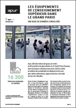 Couverture - Les équipements de l'enseignement supérieur dans le Grand Paris - Une base de données consolidée © Apur