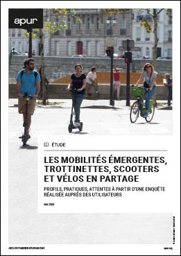 Couverture - Les mobilités émergentes, trottinettes, scooters et vélos en partage - Profils, pratiques, attentes à partir d'une enquête réalisée auprès des utilisateurs © Apur