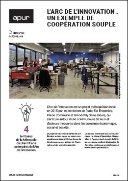 """Couverture de la note """"L'Arc de l'innovation : un exemple de coopération souple"""" © Apur"""
