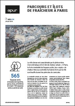 """Couverture note """"Parcours et îlots de fraîcheur à Paris"""" © Apur"""