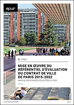 Couverture - Mise en oeuvre du référentiel d'évaluation du contrat de ville de Paris 2015-2022 - Analyse des données collectées en 2020 © Apur