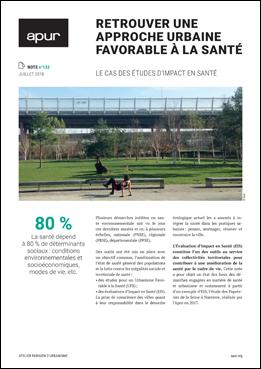 """Couverture note """"Retrouver une approche urbaine favorable à la santé - Le cas des études d'impact en santé"""" © Apur"""