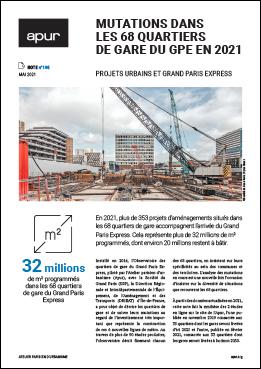 Couverture - Mutations dans les 68 quartiers de gare du GPE en 2021 - Projets urbains et Grand Paris Express © Apur