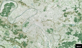 Grand Paris - its geography © Apur - image proche infrarouge, MNE, MNT - Aérodata 2015
