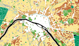"Extract of the interactive map ""Evolution of nature in Paris over 3 centuries, from 1730 to 2017"" © Apur"